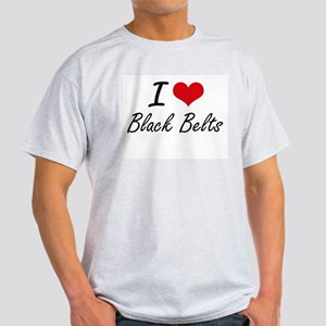I Love Black Belts Artistic Design T-Shirt