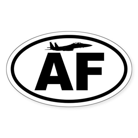 Air Force Fighter Jet Oval Sticker
