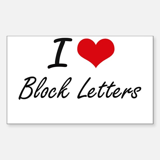 I Love Block Letters Artistic Design Decal
