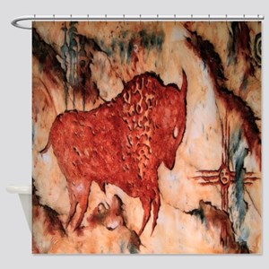 Bison Petroglyph Shower Curtain