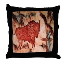 Bison Petroglyph Throw Pillow