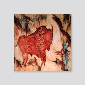 "Bison Petroglyph Square Sticker 3"" X 3"""