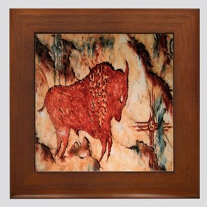 Bison Petroglyph Framed Tile