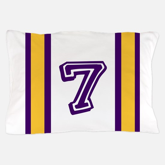 PURPLE AND GOLD NUMBER SEVEN Pillow Case