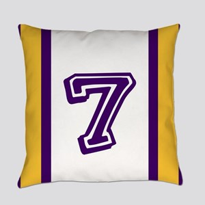 PURPLE AND GOLD NUMBER SEVEN Everyday Pillow