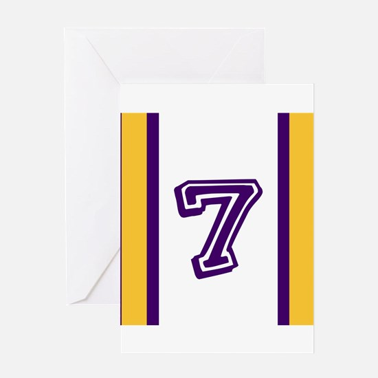 PURPLE AND GOLD NUMBER SEVEN Greeting Cards