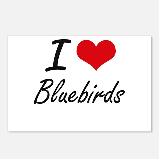 I Love Bluebirds Artistic Postcards (Package of 8)