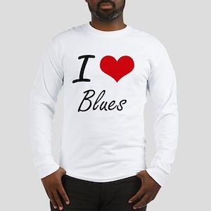 I Love Blues Artistic Design Long Sleeve T-Shirt
