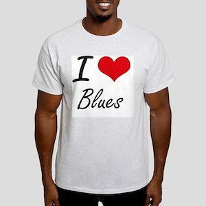 I Love Blues Artistic Design T-Shirt