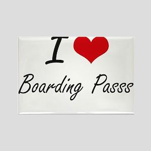 I Love Boarding Passs Artistic Design Magnets