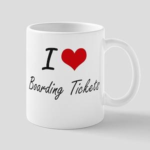 I Love Boarding Tickets Artistic Design Mugs