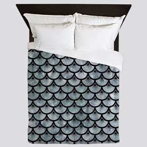 SCALES3 BLACK MARBLE & ICE CRYSTALS Queen Duvet