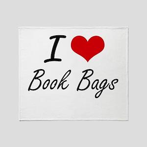 I Love Book Bags Artistic Design Throw Blanket
