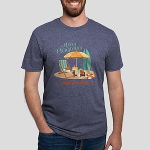 Merry Christmas Beach Mens Tri-blend T-Shirt