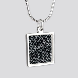 SCALES2 BLACK MARBLE & ICE Silver Square Necklace