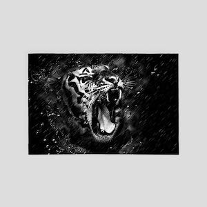 Wild Tiger Portrait Black White Animal 4' x 6' Rug