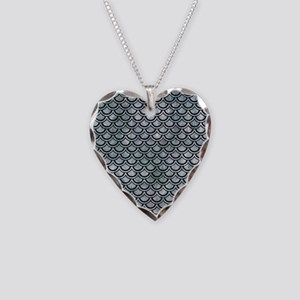 SCALES2 BLACK MARBLE & ICE CR Necklace Heart Charm