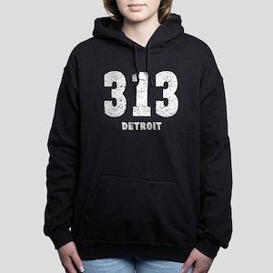 313 Detroit Distressed Women's Hooded Sweatshirt