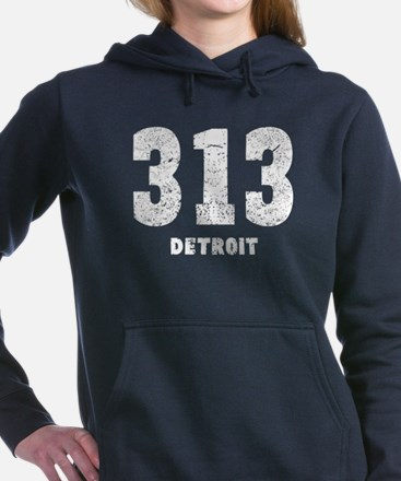 313 Detroit Distressed Women's Hooded Sweatshirt