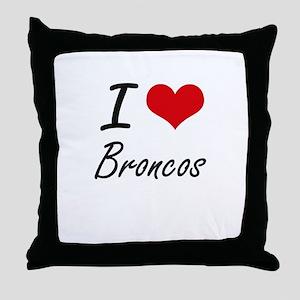 I Love Broncos Artistic Design Throw Pillow