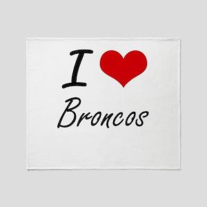 I Love Broncos Artistic Design Throw Blanket