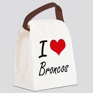 I Love Broncos Artistic Design Canvas Lunch Bag