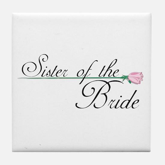 Elegant Sister of the Bride Tile Coaster