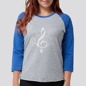 white treble clef with grunge swirls background.p
