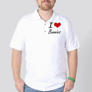 I Love Bunnies Artistic Design Golf Shirt