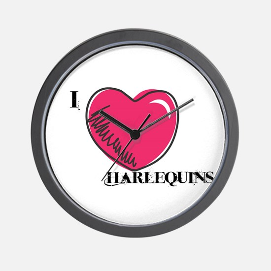 I heart Harlequins Wall Clock