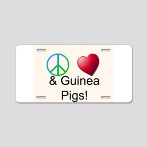 Peace Love & Guinea Pigs Aluminum License Plate