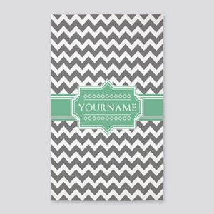 Grey White Chevron Green Monogram Area Rug