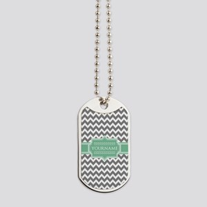 Grey White Chevron Green Monogram Dog Tags