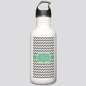 Grey White Chevron Gre Stainless Water Bottle 1.0L