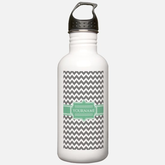 Grey White Chevron Gre Water Bottle