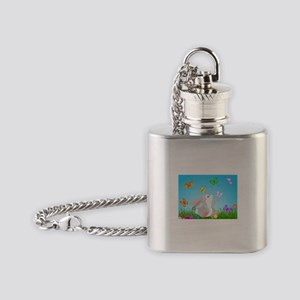 Bunny & Butterflies Flask Necklace