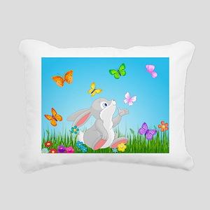 Bunny & Butterflies Rectangular Canvas Pillow