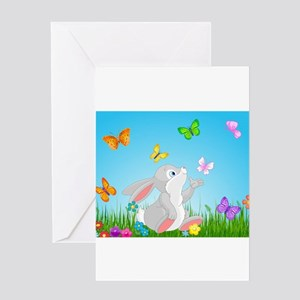 Bunny & Butterflies Greeting Cards