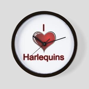I Love Harlequins Wall Clock