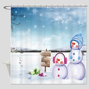 Cozy Snowman Scene Shower Curtain