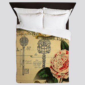 shabby chic french country rose Queen Duvet