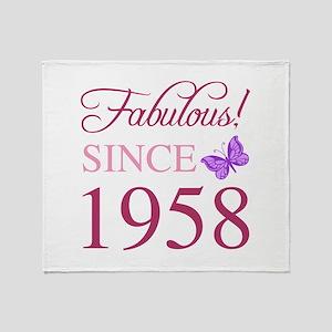 1958 Fabulous Birthday Throw Blanket