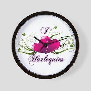 I heart harlequins (fancy) Wall Clock