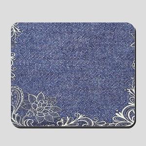 swirls western country blue denim Mousepad
