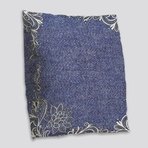 swirls western country blue de Burlap Throw Pillow