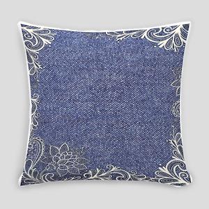 swirls western country blue denim Everyday Pillow