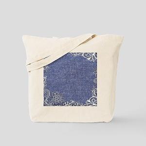 swirls western country blue denim Tote Bag