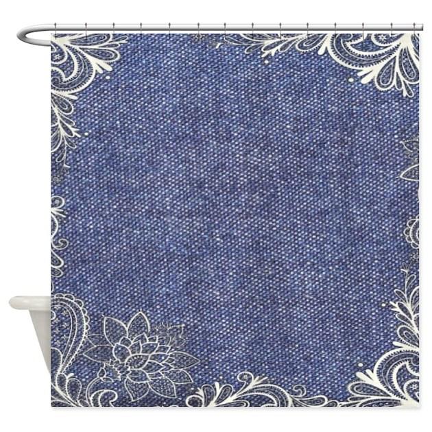 Swirls Western Country Blue Denim Shower Curtain By Listing Store 62325139