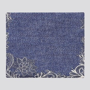 swirls western country blue denim Throw Blanket