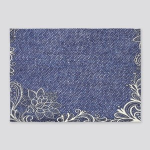 swirls western country blue denim 5'x7'Area Rug